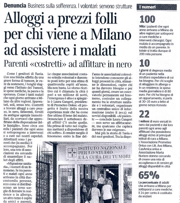 Alloggi a prezzi folli per chi viene a Milano ad assistere i malati