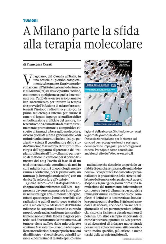 """Sole 24ore """"A Milano parte la sfida alla terapia molecolare"""""""