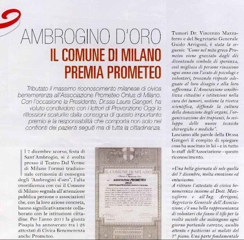 Ambrogino d'oro, il Comune di Milano premia PROMETEO