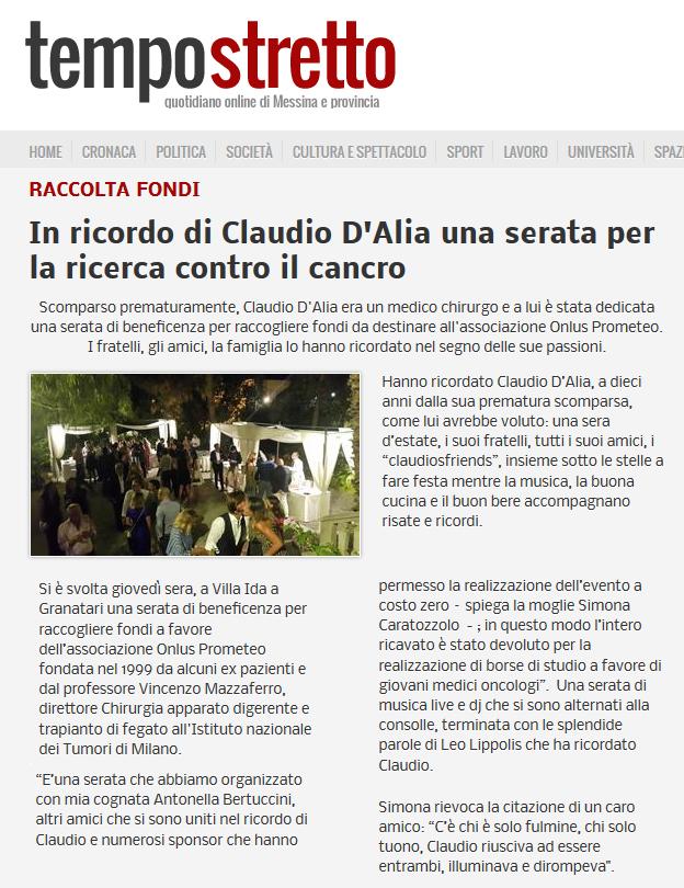 In ricordo di Claudio D'Alia una serata per la ricerca contro il cancro