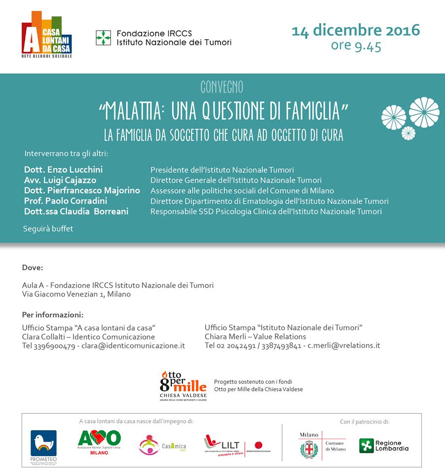"""""""Malattia: una questione di famiglia"""" - 14 dicembre Convegno all'Istituto dei Tumori"""