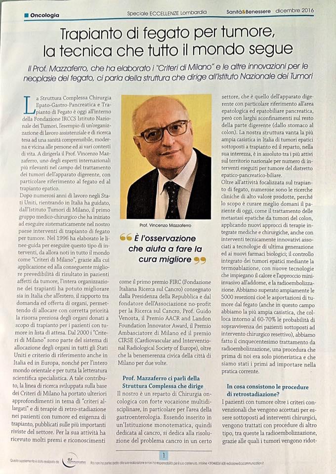 Sanità & Benessere de Il Corriere della Sera: intervista al prof. Mazzaferro 1