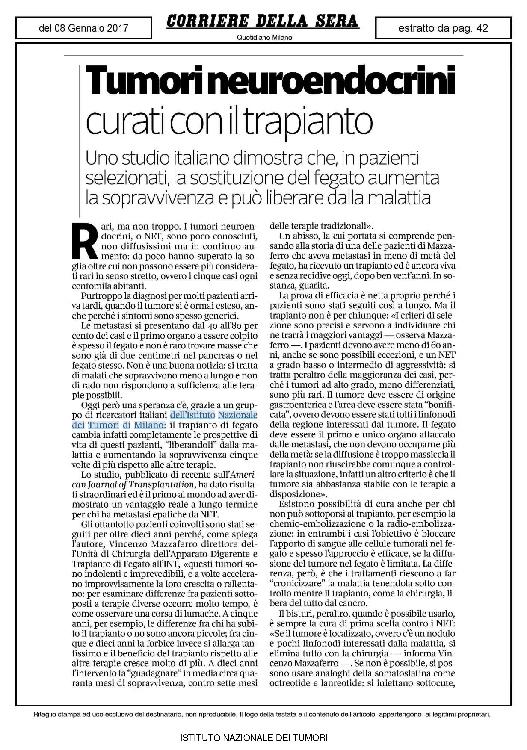 Tumori neuroendocrini curati con il trapianto - Corriere della Sera