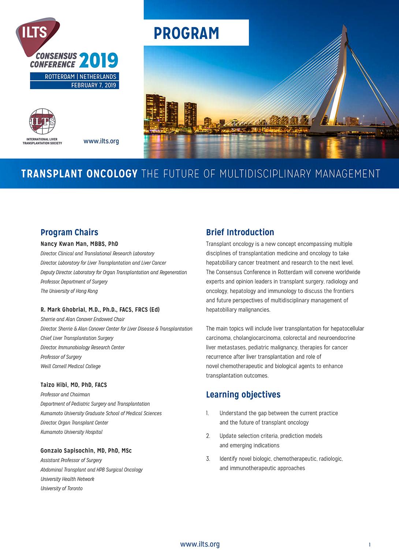 ILTS Consensus Conference 2019 Rotterdam, 7 febbraio