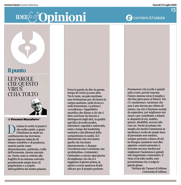 Le parole che questo virus ci ha tolto - di Vincenzo Mazzaferro, su Corriere Salute 1