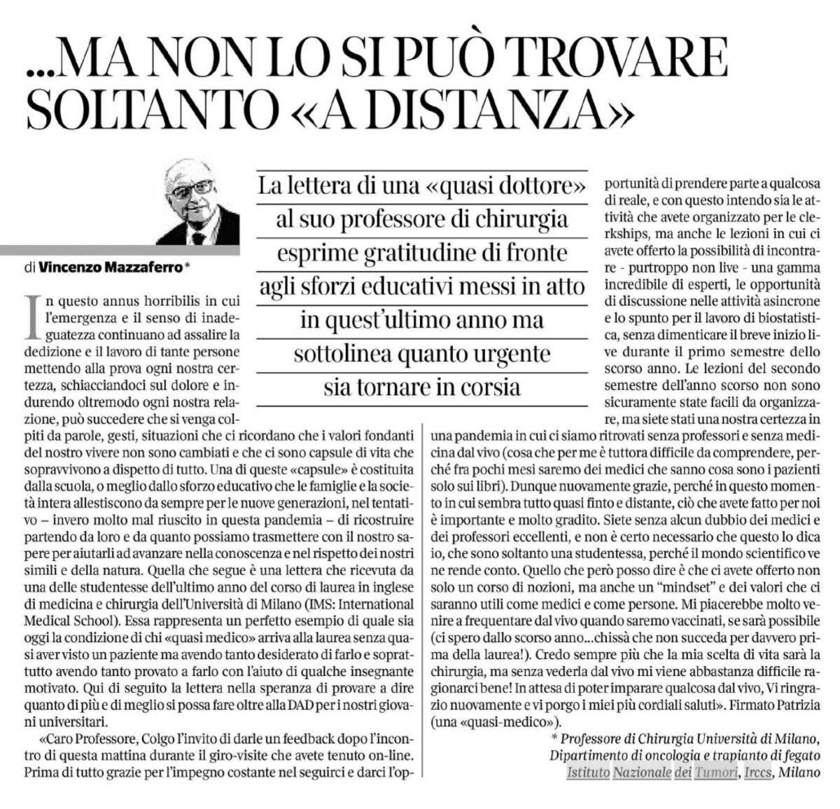 Corriere Salute Vincenzo Mazzaferro